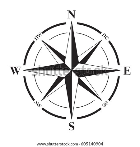 North South East West Direction Arrows Sketch Coloring Page