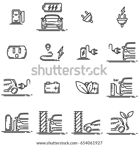 Set Electric Car Electrical Charging Station Stock Vector