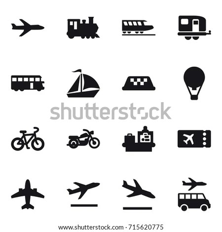 Set Black Icons Airport Airplane Freight Stock Vector