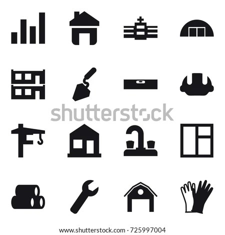 16 Vector Icon Set Graph Home Stock Vector 725997004