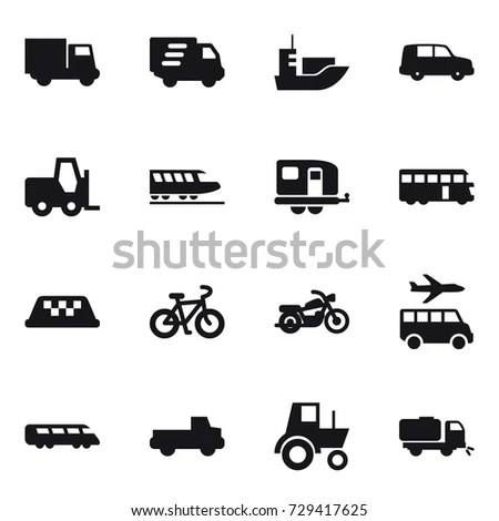 Different Transport Vehicles Icons Set Tractor Stock