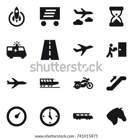 Airport Signs Symbols Black Light Stock Vector 11136685