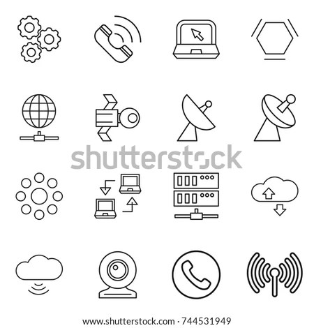 Internet Network Thin Line Icons Set Stock Vector
