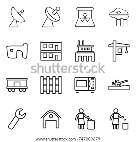 Construction Modern Simple Thin Line Design Stock