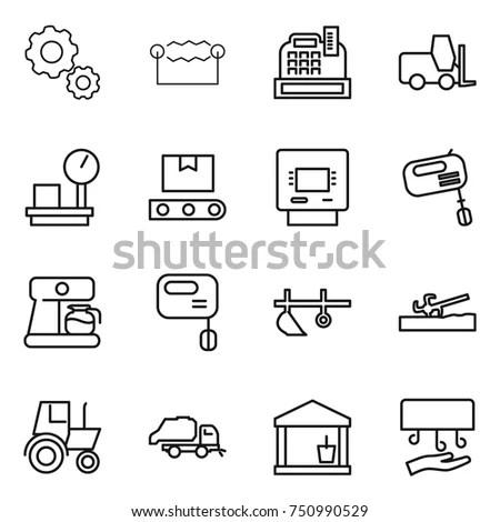 Black Flat Line Vector Set Icon Stock Vector 347838902