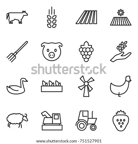 Agriculture Icons Set Set 16 Agriculture Stock Vector