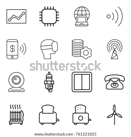 Set Air Conditioning Fan Heater Isolated Stock Vector