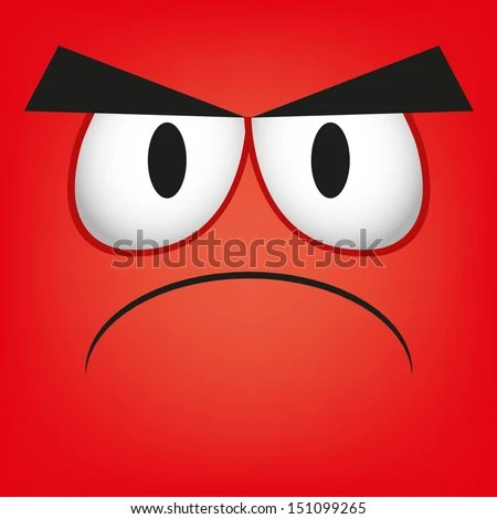 A Vector Cute Cartoon Red Angry Face - stock vector
