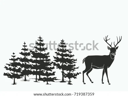 Silhouettes Snowy Trees Fir Trees Forest Stock Vector
