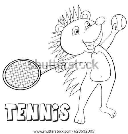 Coloring Book Hedgehog Plays Tennis Cartoon เวกเตอร์สต็อก