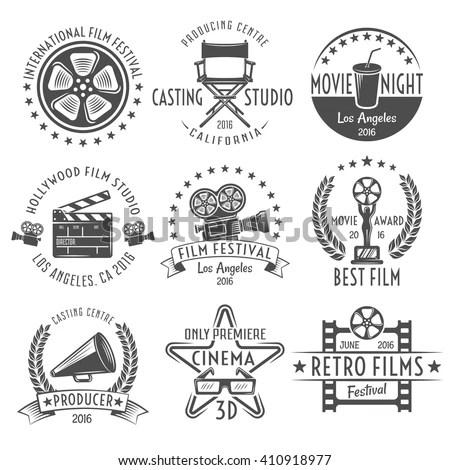 Movies Black White Emblems Set Reel Stock Vector 410918977
