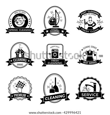 Cleaning Service Graphic Emblems Broom Tap Stock Vector