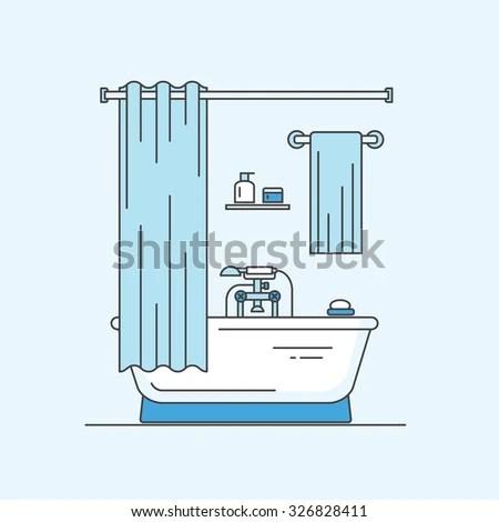 Bathroom Interior Outline Design Vector Illustration Stock