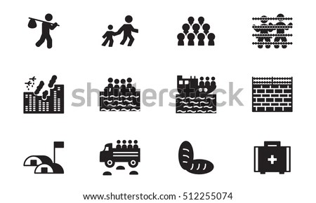 Refugee Migration Icon Set Vector Stock Vector 512255074