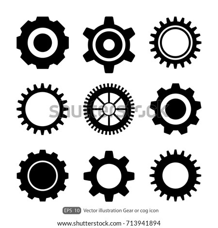 Gear Cog Icon On White Backgroundgears Stock Vector