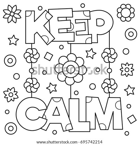 Keep Calm Coloring Page Vector Illustration Stock Vector