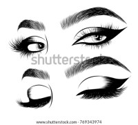 Hand Drawn Fashion Model Womans Face Royalty Free Stock ...