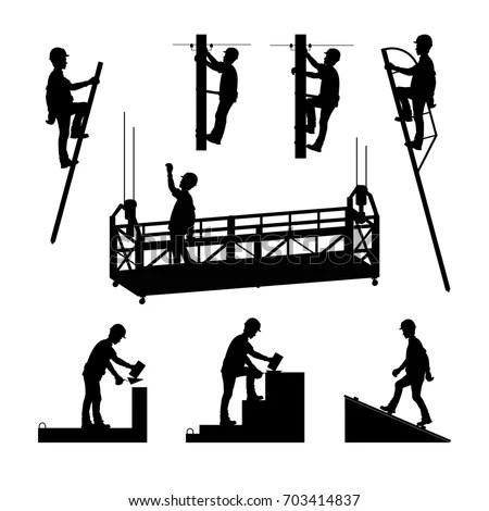 Silhouettes Builders Brickwork Mason Bricklayer