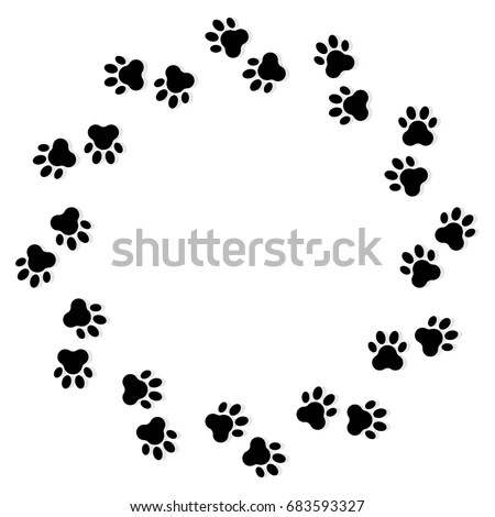 Animal Footprints Circle On White Background Stock Vector
