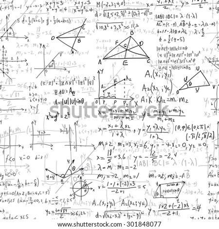 Math Seamless Pattern Endless Pattern Handwriting Stock