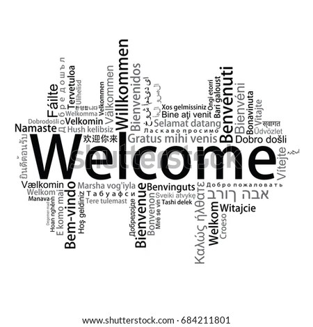 Welcome Tag Cloud Different Languages Vector Stock Vector