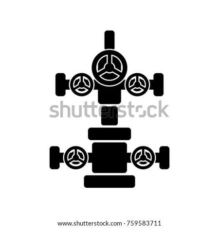 Christmas Tree Oil Gas Wells Black Stock Vector 759583711