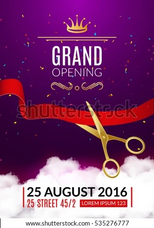 Grand Opening Invitation Card Grand Opening Stock Vector