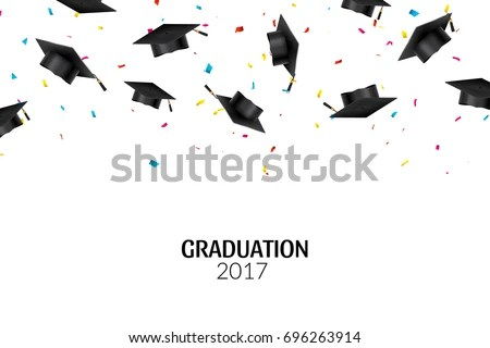 Graduate Caps Confetti On White Background Stock Vector