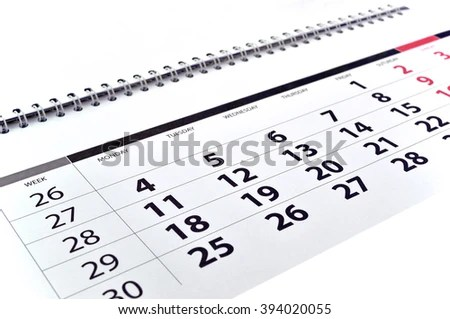 Weekly Calendar Stock Photos, Images, & Pictures