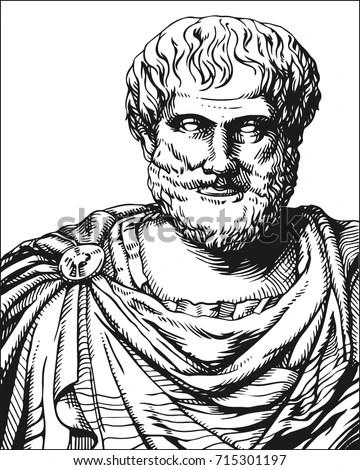 Aristotle Vector Black White Portrait Greek Stock Vector