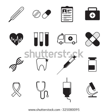 Medical Icon Set Isolated On White Stock Vector 318657110