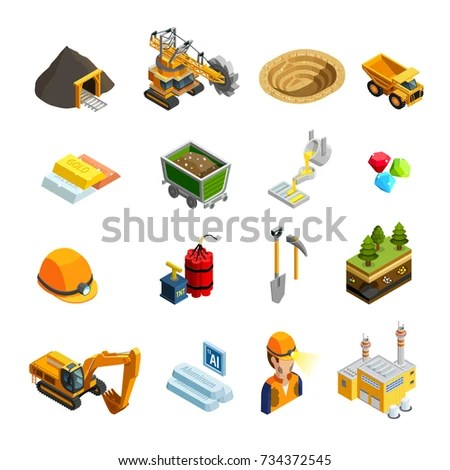 Mining Isometric Icons Set Minerals Symbols Stock Vector