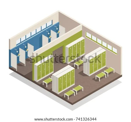 Swimming Pool House Changing Locker Room Stock Vector