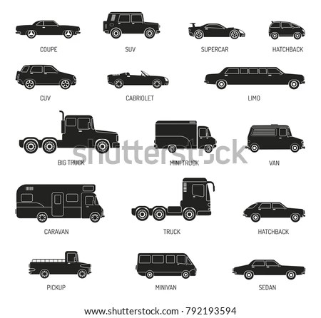 Black Silhouettes Set Different Car Models 库存矢量图 792193594