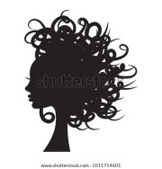 curly hair silhouette stock