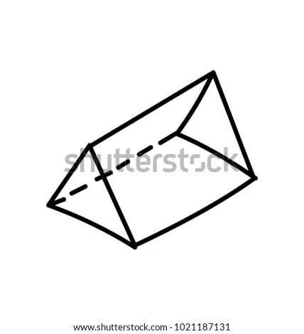 Triangular Prism Icon Geometry Shape Doodle Stock Vector