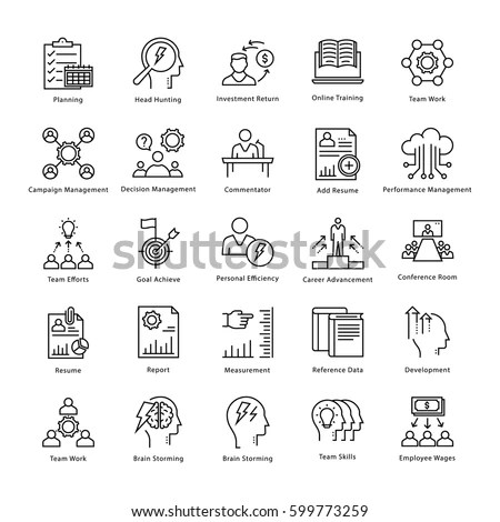 Modern Thin Line Icons Set Corporate Stock Vector