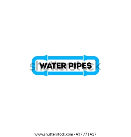 Blue Water Pipes Logo Branding Corporate Stock Vector