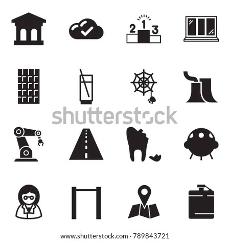 Solid Black Vector Icon Set Bank Stock Vector 789843721