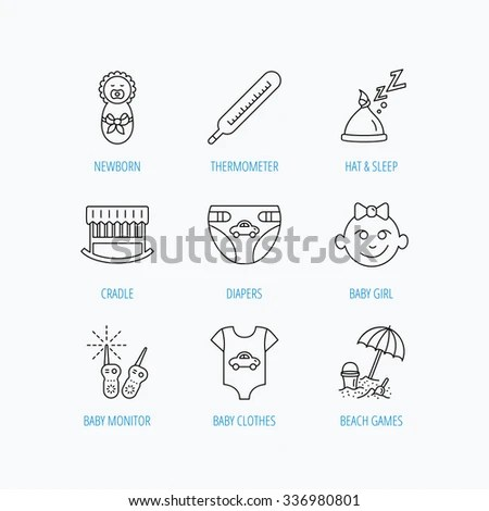 Newborn Clothes Diapers Sleep Hat Icons Stock Vector