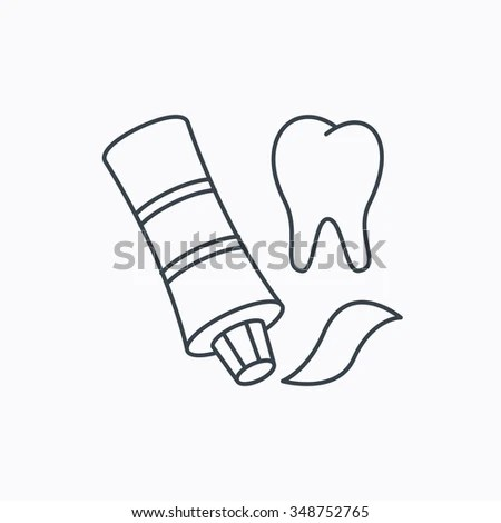 Toothpaste Icon Teeth Health Care Sign Stock Vector