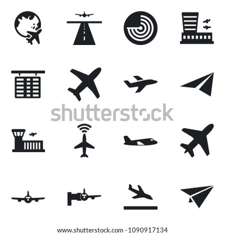 Set Vector Isolated Black Icon Plane Stock Vector