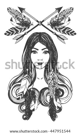 Woman Feathers Arrows Native American Indian Stock Vector