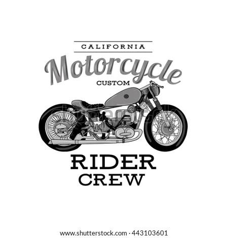 Vector Illustration Design Tshirt Print Motorcycle Stock