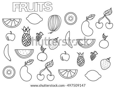 Hand Drawn Fruits Set Coloring Book Stock Vector 497509147