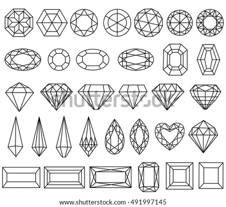 Graphic Drawing Gemstone Faceting Patterns On Stock Vector