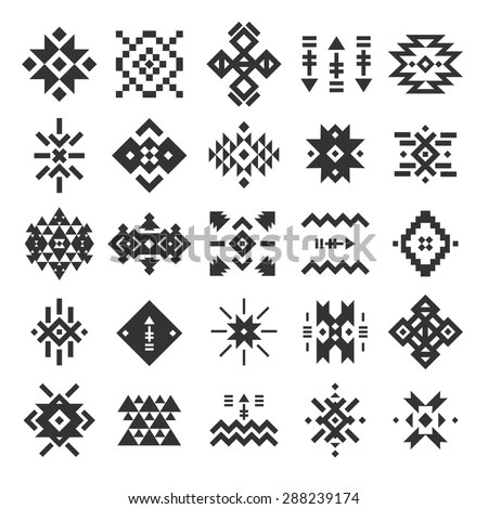 Vector Abstract Geometric Elements Pattern Ethnic Stock