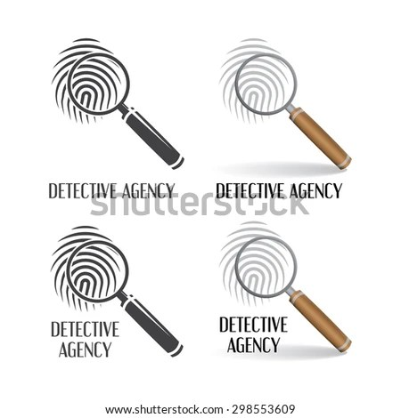 Set of logos of detective agency. Icons of magnifying