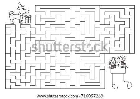 Black White Cartoon Illustration Education Maze Stock