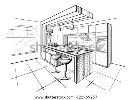 Interior Sketch Modern Kitchen Island Stock Vector